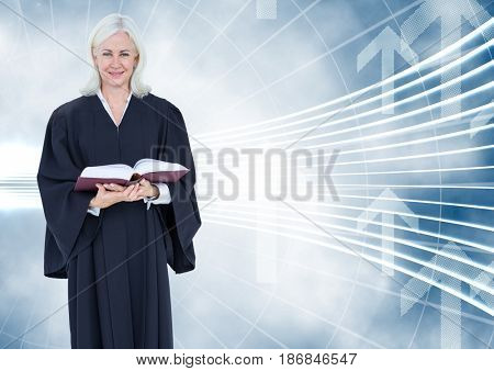 Digital composite of Judge holding book in front of curved background with arrows