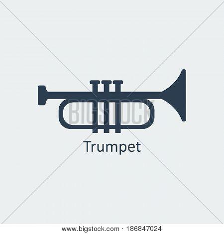 Trumpet icon. Musical symbol. Silhouette vector icon