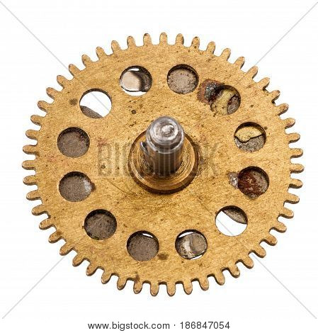 Old clockwork gear isolated on white background