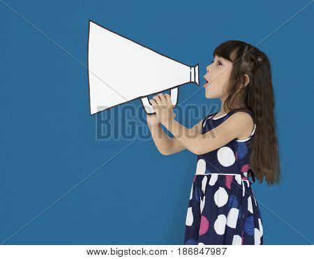 Little Girl Megaphone Positive Shoot
