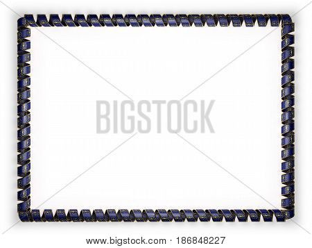 Frame and border of ribbon with the state Indiana flag USA edging from the golden rope. 3d illustration
