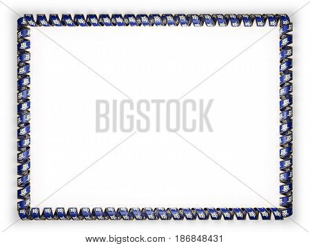 Frame and border of ribbon with the state Connecticut flag USA edging from the golden rope. 3d illustration