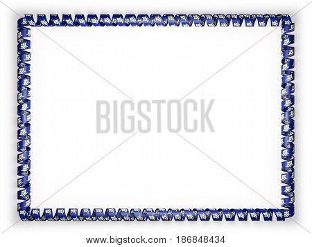Frame and border of ribbon with the state Connecticut flag USA. 3d illustration