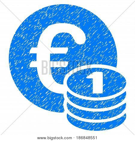 Grunge One Euro Coin Stack icon with grunge design and dust texture. Unclean vector blue pictogram for rubber seal stamp imitations and watermarks. Draft emblem symbol.