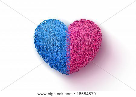 Heart weaved from variety of twisted blue and pink threads. Heterosexual couple concept