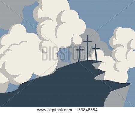 vector banner with silhouette mountain and three crosses on the background of sky with clouds