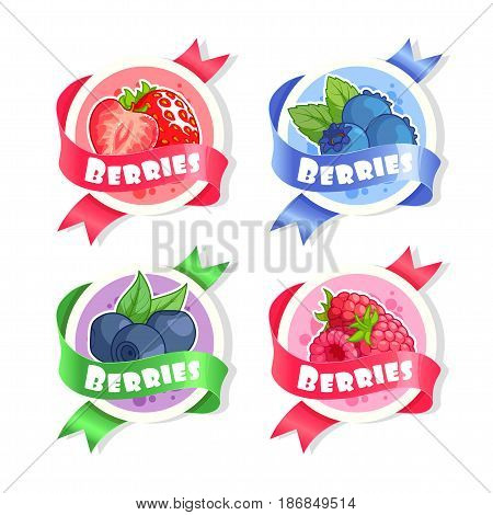 Four stickers with ribbon and different berries. Strawberry blueberry bilberry and raspberry. Vector illustration isolated on a white background.