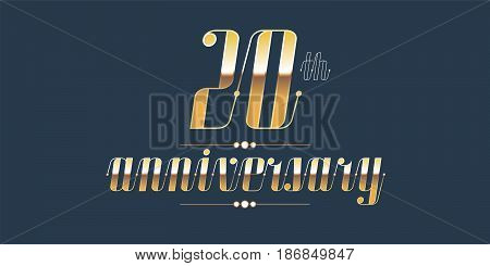 20 years anniversary vector logo. Decorative design element with lettering and number for 20th anniversary