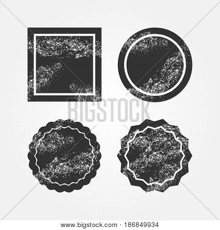 Set of damaged black backgrounds. Grunge. Round and square broken frames. Four isolated templates for design. Vector illustration.