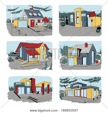 Hand drawn cottage. modern private residential houses. colorful sketch illustrations set