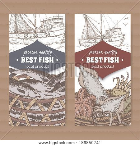 Set of two labels with fishing boat, color fish and seafood basket on white background. Great for markets, fishing, fish processing, canned fish, seafood product label design.