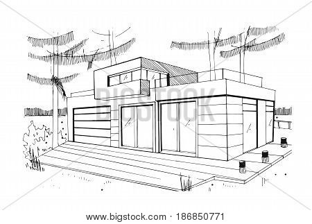 Modern private residential house. Hand drawn, contour, black and white sketch illustration