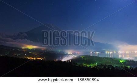 Mt. Fuji And Lake Yamanaka With Stars