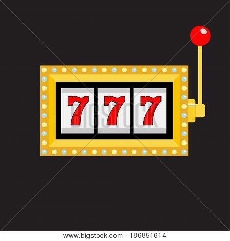 Slot machine. Golden color Glowing lamp light. 777 Jackpot. Lucky sevens. Red handle lever. Big win Online casino gambling club sign symbol. Flat design. Black background Isolated Vector illustration