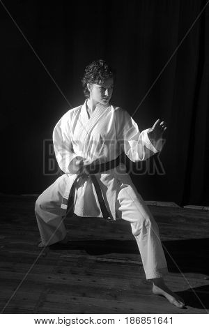 Black and white karate techniques illustrated by a black belt girl. Karate,  kata, technique, combat, gym, fighter, victory, concentration, student, shots, black and white,