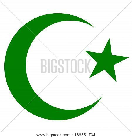 symbol of Islam, crescent and star dark green color, vector eps