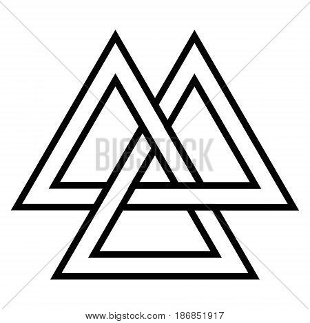 Valknut  Viking Age symbol, geometric design element Norse warrior culture, vector Triangle logo community