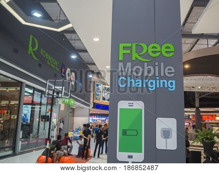 MAESOD THAILAND-APRIL 2017 : Free mobile charging station sign at Robinson Department store Maesod Thailand.
