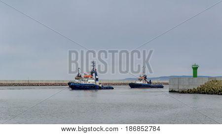 THREE TUGS - Boats and harbor docks