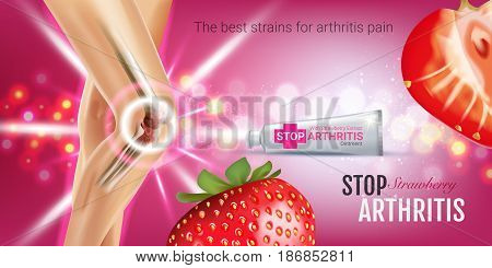 Arthritis Pain Relief Ointment ads. Vector 3d Illustration with Tube cream with strawberry extract. Horizontal banner with product's package.