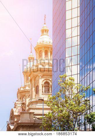 Santiago Metropolitan Cathedral Seeing Behind The Modern Building
