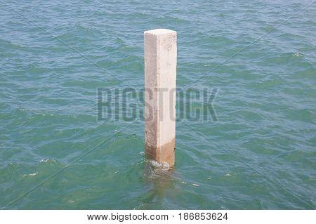 Concrete pillar mooring mast ship at Thailand