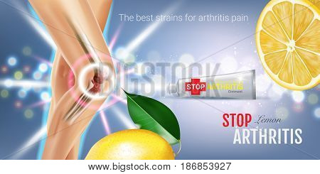 Arthritis Pain Relief Ointment ads. Vector 3d Illustration with Tube cream and lemon extract. Horizontal banner with product's package.