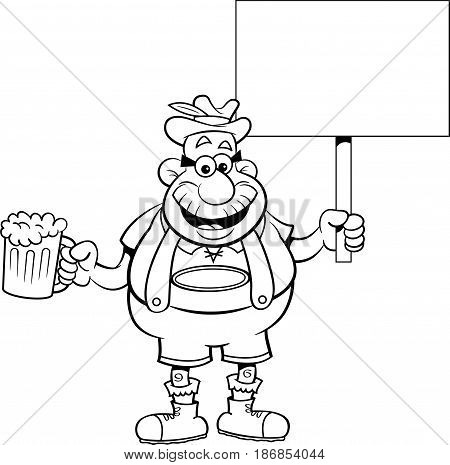 Black and white illustration of a man holding a beer mug and a sign.