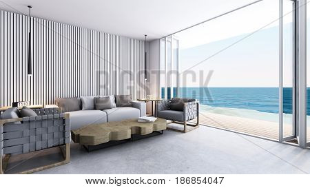 Livingroom take sea view - 3D render