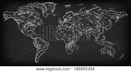 Vector white linear similar World map isolated on white background. Monochrome Worldmap template website design cover infographics. Flat Earth Graph World map illustration drawn chalk background
