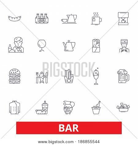Bar, cafe, beer, pub, drinking, eating, restaurant, cocktail, party, fast food line icons. Editable strokes. Flat design vector illustration symbol concept. Linear signs isolated on white background