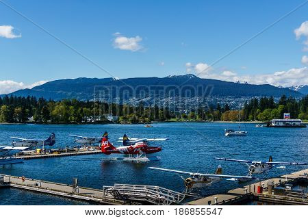 Vancouver, Canada - May 8 2017: Vancouver Harbour Flight Centre Seaplane Terminal On May 8, 2017