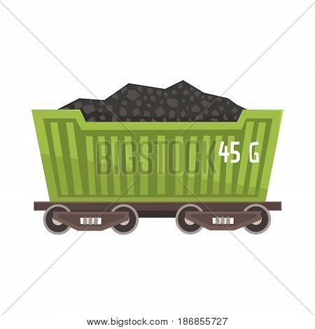 Green railway wagon loaded with coal. Railway and cargo transportation. Colorful cartoon illustration isolated on a white background