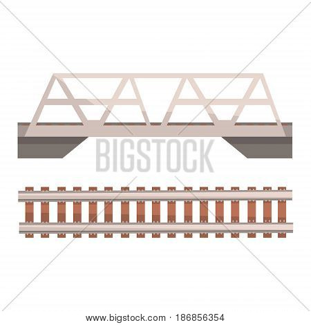 Railway bridge and railroad, rail section. Colorful cartoon illustration isolated on a white background