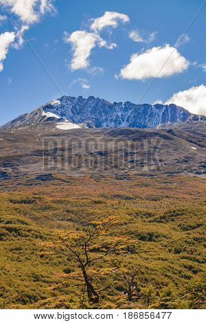 Patagonia landscape scene with big snowy andes mountains as main subject Aisen - Chile