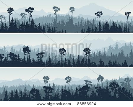 Set of horizontal abstract banners hills of coniferous wood in blue tone.