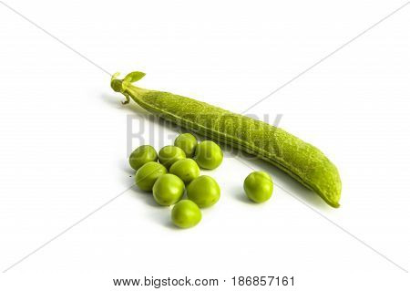 Pictures of peas and pea grains with white background,