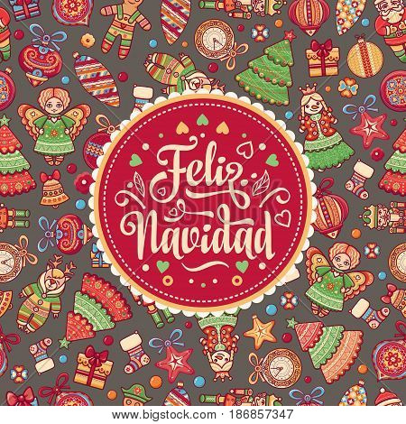 Christmas decorations for invitations and greeting cards. Winter toy. Feliz navidad. Xmas card on Spanish language. Warm wishes for happy holidays in Spain. English translation: Merry Christmas.