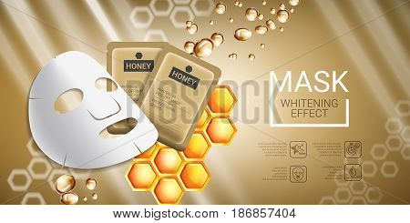 Honey skin care mask ads. Vector Illustration with honey smoothing mask and packaging. Horizontal banner.