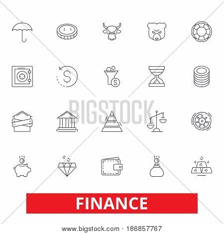 Finance, save money, investor, cash, bank, investment, accounting, bookkeeping line icons. Editable strokes. Flat design vector illustration symbol concept. Linear signs isolated on white background