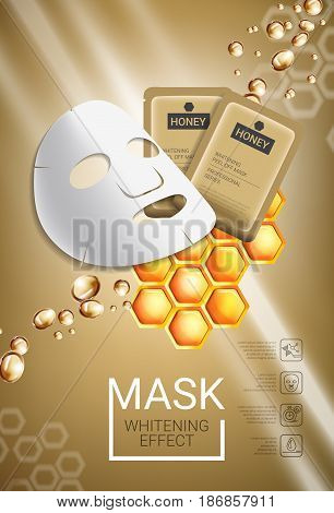 Honey skin care mask ads. Vector Illustration with honey smoothing mask and packaging. Vertical poster.