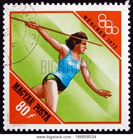 HUNGARY - CIRCA 1972: a stamp printed in Hungary shows Javelin Athletics 20th Olympic Games Munich circa 1972