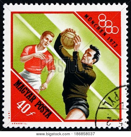HUNGARY - CIRCA 1972: a stamp printed in Hungary shows Soccer 20th Olympic Games Munich circa 1972