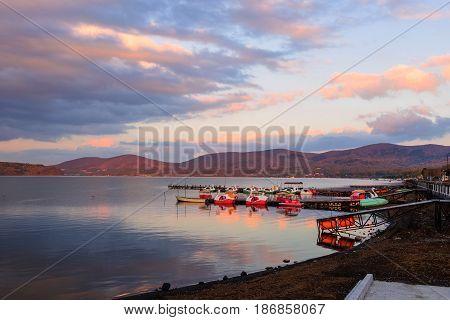 Lake Yamanaka At Dusk