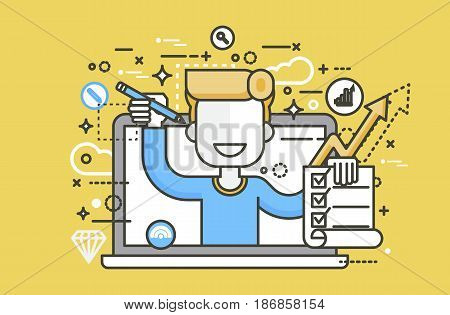 Stock vector illustration man in laptop notebook offers fill in application form design element education, subscription email marketing newsletter online management line art style yellow background icon
