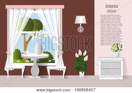 The interior of the living room. Dining room. Vector illustration.