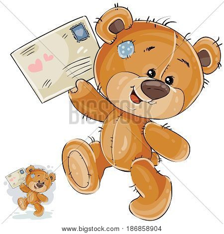 Vector illustration of a brown teddy bear holding in its paws received love letter. Print, template, design element