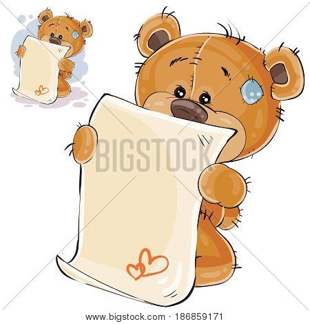 Vector illustration of a brown teddy bear misses and wrote a love letter. Print, template, design element