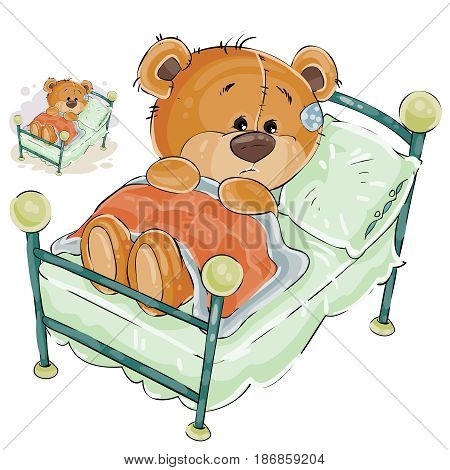 Vector illustration of a brown teddy bear misses and sad lies in bed. Print, template, design element