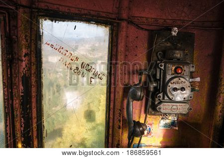 Chiatura Georgia - Oct 20 2016: The control panel with the points of communication inside the old cable car in Chiatura. Unusual attraction of Georgia